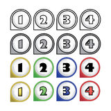 Rounded multicolor pointers with numbers Stock Photo