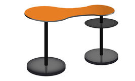 Rounded orange POS POI table with Shelves. Royalty Free Stock Image