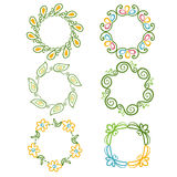 Rounded ornaments with floral elements for invitation, an Royalty Free Stock Photography