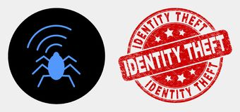 Vector Radio Bug Icon and Distress Identity Theft Seal. Rounded radio bug icon and Identity Theft watermark. Red rounded distress watermark with Identity Theft stock illustration