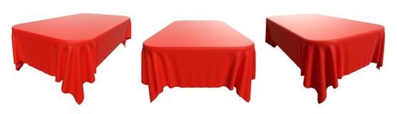 Rounded rectangular red tablecloth set. Rectangular red tablecloth with rounded corners, set isolated on white, 3d illustration Royalty Free Stock Photos