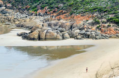 Rounded red boulders in Wilsons Promontory - Squeaky Beach.  Stock Photo