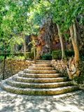 Rounded scallops. Rounded stairs made of natural stone in the area of Floresta Viver royalty free stock photos