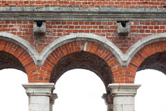 Rounded, semi-circular, vintage arches. Classic red brickwork old bridge texture, macro stock photo