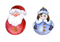 Rounded smiling Santa Claus and funny Snow Maiden on white background. Rounded smiling Santa Claus and funny Snow Maiden with golden buttons on white background Royalty Free Stock Image