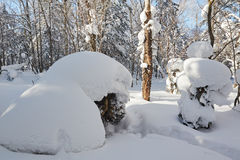 The rounded snow and blue sky Stock Images