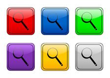 Rounded square button magnifie Royalty Free Stock Photo