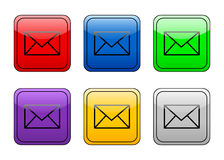 Rounded square button mail Stock Photos