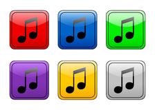 Rounded square button music Stock Photos