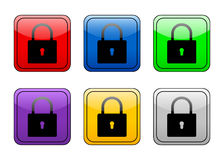 Rounded square button padlock Stock Photos