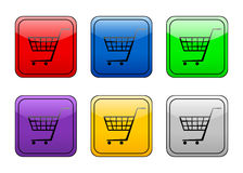 Rounded square button shopping Stock Images