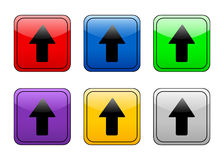 Rounded square button up arrow Stock Photo