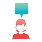 Rounded square callout for dialogue with girl half body and without face Stock Photography