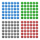 Rounded square long shadow style icons. In various colors Royalty Free Stock Image
