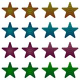 Rounded star, black star collection with stripes and colored gradient. Geometric figure in the shape of star Stock Images