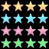 Rounded star, white star collection with stripes and colored gradient. Geometric figure in the shape of star on the black background Royalty Free Stock Image