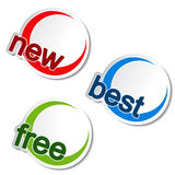 Rounded stickers - new, best, free Stock Photo
