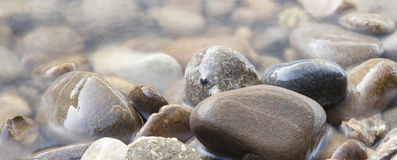Rounded stones in water Royalty Free Stock Images