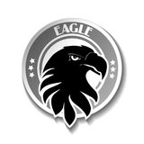 Rounded symbol of eagle, black sketch head Stock Photos