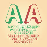Rounded Upwards Isometric Alphabet and Digit Vecto Royalty Free Stock Images
