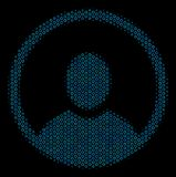 Rounded User Portrait Mosaic Icon of Halftone Bubbles. Halftone Rounded user portrait mosaic icon of spheric bubbles in blue color hues on a black background Royalty Free Stock Photo