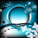 Rounded winter frame. Colorful background with blue rounded winter frame, various stylized snowflakes, fir branch, blue bubbles and beautiful Christmas balls Royalty Free Stock Images
