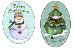 Rounded xmas tags for presents with smiling Christmas tree and snowman. Stock Images