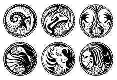 Rounded zodiac icons. Black&white rounded stylized zodiac icons. Part I Stock Image