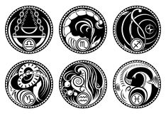 Rounded zodiac icons Royalty Free Stock Photography