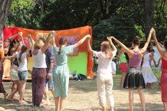 Roundelay. Folk dance festival Vedalife-2016. Truhanov island. the city of Kiev. Ukraine Royalty Free Stock Photography
