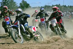 Rounding the bend. Taken at massey ontario moto cross Royalty Free Stock Image