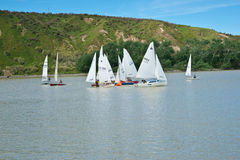 Rounding the bouy,Yachts racing. Royalty Free Stock Photos