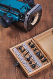 Roundover router bits for woodworking in wooden box and plunge p Royalty Free Stock Photos