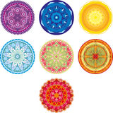 Rounds. Seven chakra colored circle with ornament Stock Image
