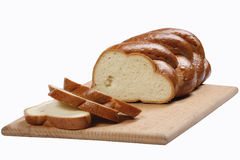 Rounds of loaf. Isolated white sweet loaf and round stock photo