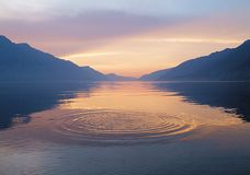 Rounds on the water. Rounds on the mountain lake water on sunrise Royalty Free Stock Images