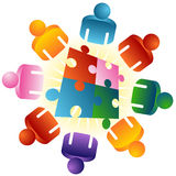 Roundtable Puzzle Solving Team Stock Images