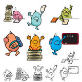 Roundy cartoon school set Royalty Free Stock Photos