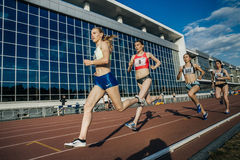 Roup of girls leaders stayers running a distance of 1500 meters Royalty Free Stock Photos