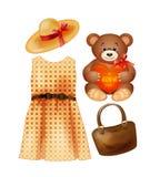 Roupa, brinquedo e acessórios para as meninas da fôrma imagens de stock