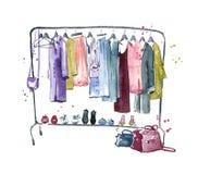 A roupa cerca, ilustração do watercolour Foto de Stock Royalty Free