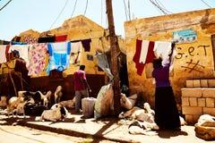 Roupa colorida que pendura para fora para secar em St Louis senegal Fotos de Stock