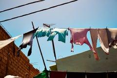 Roupa colorida que pendura para fora para secar em St Louis senegal Fotos de Stock Royalty Free