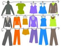 Roupa das cores da forma das mulheres e dos homens ilustração do vetor