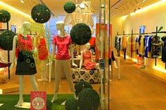 A roupa das mulheres na exposição Fotografia de Stock