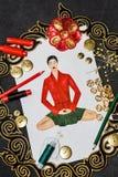 Roupa de desenhador de moda do esboço Imagens de Stock Royalty Free