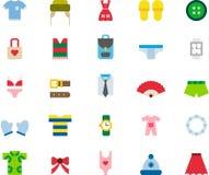 Roupa de forma e grupo do ícone dos acessórios Fotografia de Stock