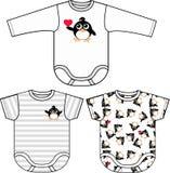 Roupa do bebê do teste padrão do pinguim Fotografia de Stock