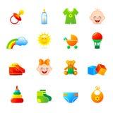 Roupa do bebê e ícones dos acessórios Imagens de Stock