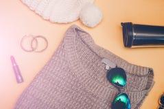 Roupa do inverno Grupo do women& bonito x27; roupa de s Imagens de Stock